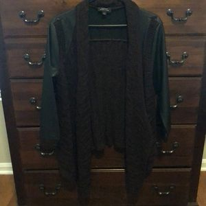 Edgy and fun knit cardigan w/faux leather sleeves